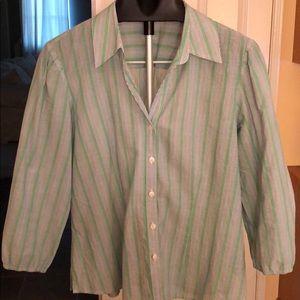 Foxcroft 3/4 Sleeve, Striped, 100% Cotton